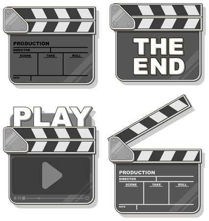 film title: A vector illustration of Movie black clapper boards set