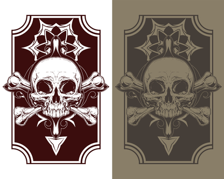 A vector illustration of Awesome tattoo skull and bones set