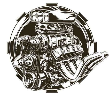 A vector illustration of Cool detailed hot road engine with skull tattoo Ilustração