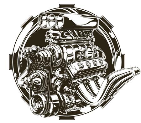 Een vector illustratie van koele gedetailleerde hot road motor met schedel tattoo Stock Illustratie