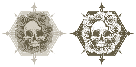 spikes: A vector illustration of Cool skull with roses and spikes tattoo set
