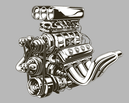A vector illustration of Detailed hot road engine with skull tattoo