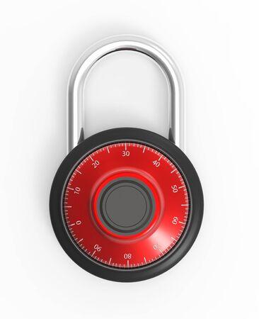 pad lock: Illustration of Black 3D locked combination pad lock on a white background