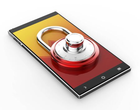 Illustration of Black 3D smartphone with red pad lock on white background Stock Photo