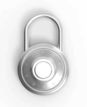 Illustration of Grey 3D locked combination pad lock on a white background