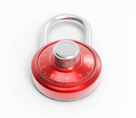 Illustration of Chrome 3D locked combination grey pad lock on a white background Stock Photo