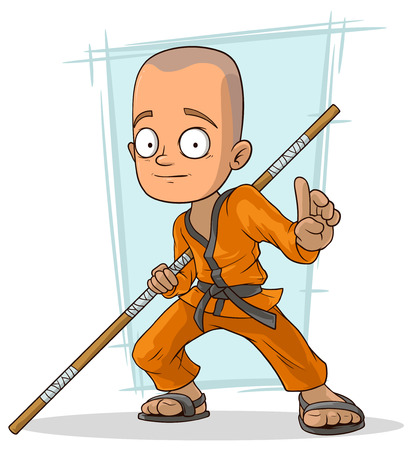 A vector illustration of Cartoon young kung fu Buddhist with stick