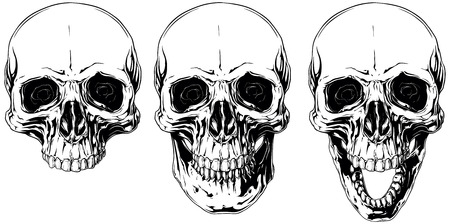 White graphic human skull with black eyes set Illustration