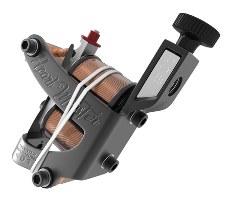 Grey metallic tattoo machine with black bolts and white rubber closeup.