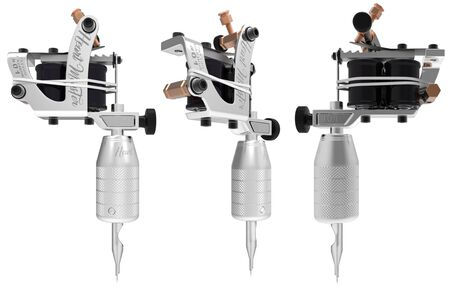 copper magnet: Silver metallic grey tattoo machine with black gloss coils set. 3D perspective illustration