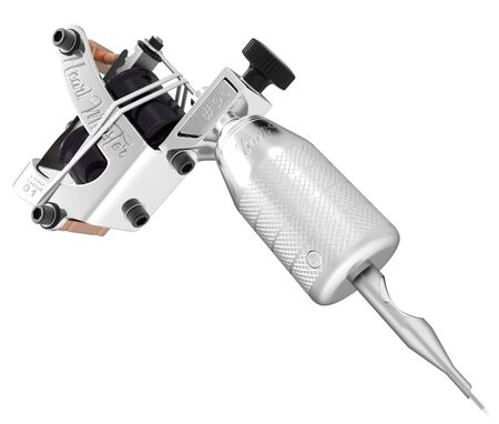 Metallic silver gloss tattoo machine with text and plastic tip. 3D illustration Stock Photo