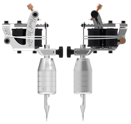 copper magnet: Silver metallic white tattoo machine with black gloss coils set. 3D isometric illustration