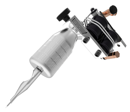 Metallic silver tattoo machine with needle and gloss coils. 3D illustration