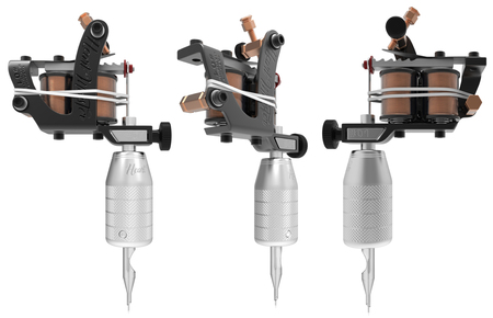 copper magnet: Black metal tattoo machine with two cooper coils set. 3D perspective illustration Stock Photo