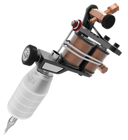 copper magnet: Metallic black tattoo machine with copper detail and big grey grip. 3D illustration Stock Photo