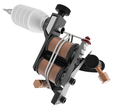 copper magnet: Metallic black tattoo machine with copper coils closeup. 3D illustration
