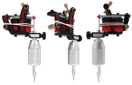 copper magnet: Silver metallic tattoo machine with red fire set. 3D perspective illustration
