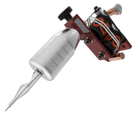 Metallic red tattoo machine with needle and orange coils closeup. 3D illustration Stock Photo