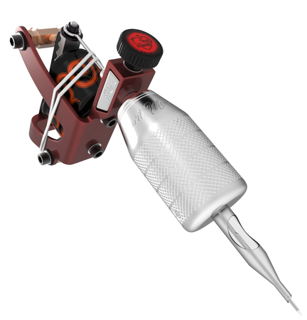 copper magnet: Red tattoo machine with metallic grip heart and needle closeup. 3D illustration Stock Photo