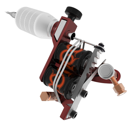 copper magnet: Metallic red silver tattoo machine with orange ornamental coils closeup. 3D illustration Stock Photo
