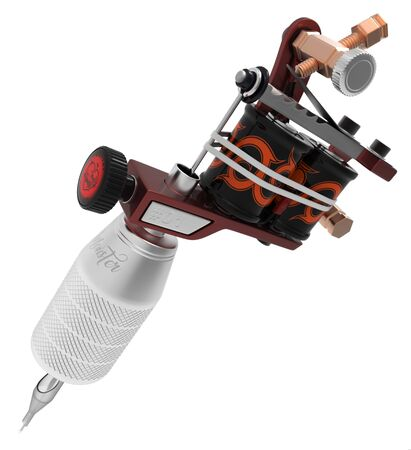 gripping: Metallic red tattoo machine with ornament and big grey grip. 3D illustration