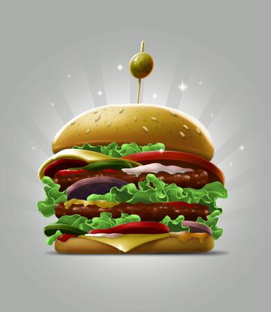 Cartoon double big burger with fresh salad sesame and olive berry on grey background illustration