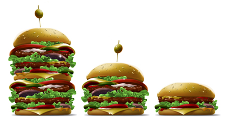 Tasty cartoon different burgers with olive and sesame on white background illustration set Stock Photo