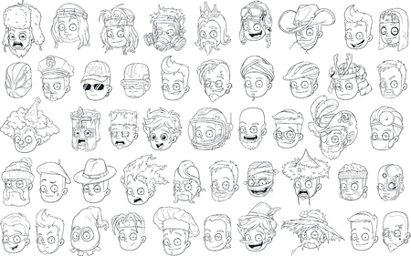 Funny different cartoon black and white characters heads big vector set for coloring