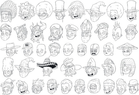 Cool different cartoon black and white characters heads for coloring big vector set
