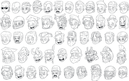 santa zombie: Different funny cartoon black and white characters heads for coloring big vector set