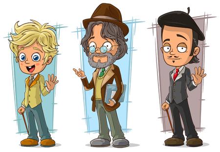 brown haired: Cartoon intelligent teacher and artist character vector set Illustration