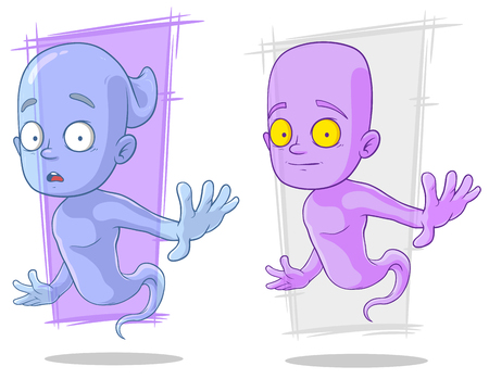 Cartoon funny ghost characters set