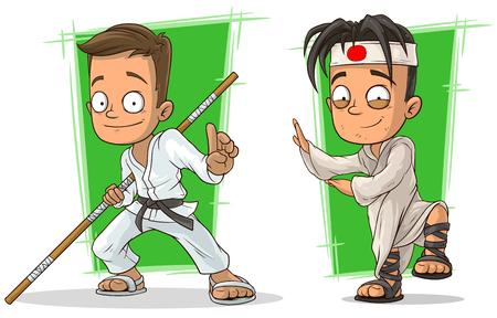 Cartoon kung fu boys in white kimono character vector set Illustration