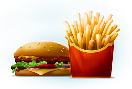 Tasty cartoon burger with sesame seeds with fresh french fries in red box with yellow stripe on white background illustration Stock Photo
