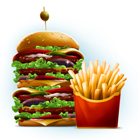 Very big cartoon style burger with fresh french fries in red box with yellow stripe on white background illustration