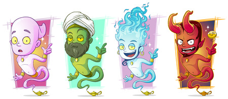 personage: Cartoon different magic jinns with lamp character vector set Illustration