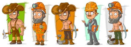 Cartoon cool digger lumberjack engineer workers character vector set