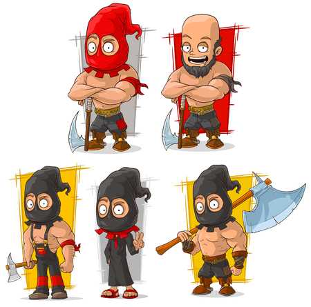 Cartoon medieval slayer and executioner in mask with big axe character vector set