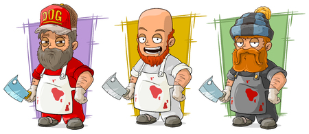 Cartoon bearded butcher in apron with big knife character vector set Ilustração