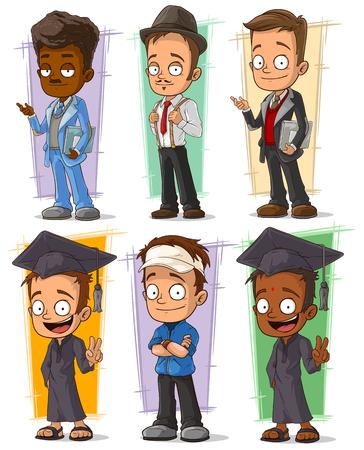 Cartoon happy college student and teacher character vector set