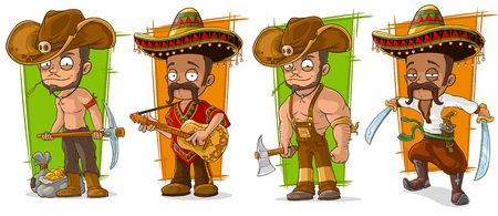 Cartoon funny mexicans in sombrero and cowboys character vector set