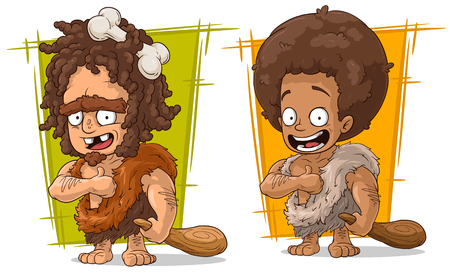 truncheon: Cartoon funny prehistoric man with wooden baton character vector set Illustration