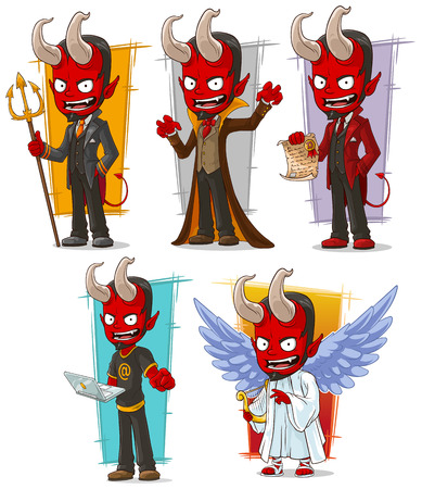 Cartoon boze rode duivels en kwaadaardige engel karakter vector set Stock Illustratie