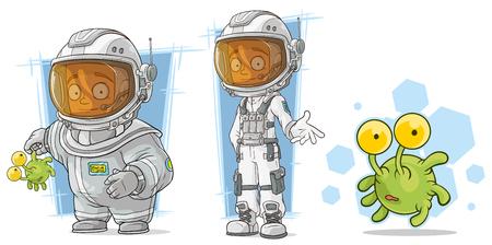 mutant: Cartoon spaceman astronaut in helmet with green alien character vector set