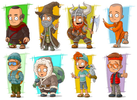 Cartoon cool funny different characters big vector set. Vol 2