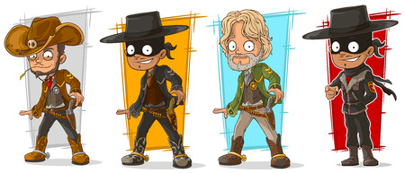 silver: Cartoon sheriff cowboy and bandit with pistol character vector set