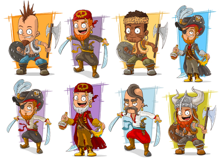 Cartoon smiling pirate warrior bandit with sword and axe character vector set