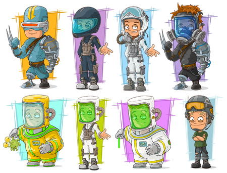 Cartoon cool cyborg soldier and scientist with protective mask character vector set