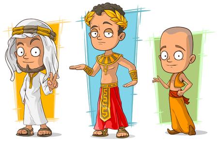meditation man: Cartoon ancient arabian egyptian and asian boy character vector set