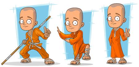 Cartoon asian buddhist monk in orange robe character vector set